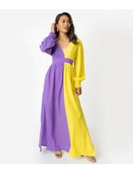 1970s Style Purple & Yellow Crepe Long Sleeve Maxi Dress by Unique Vintage
