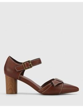 Decima Cedar Leather Pointed Toe Block Heel by Wittner