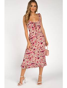Long Lunch Pink Floral Midi Dress by Dissh