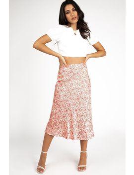 Onto It Red Paisley Slip Midi Skirt by Dissh