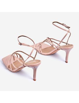 Shade Square Toe Strappy Kitten Heel In Nude Patent by Ego