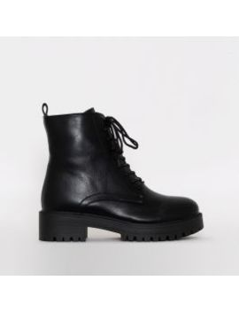 Moji Black Lace Up Flat Ankle Boots by Simmigirl