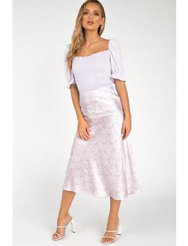 Heavenly Lilac Paisely Midi Skirt by Dissh