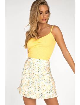 Clear Days Yellow Floral Slip Skirt by Dissh