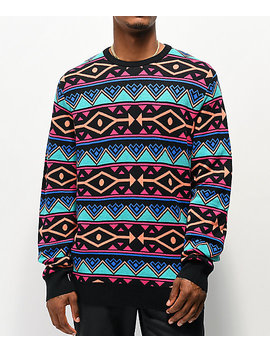 Empyre Brock Pattern Black, Blue &Amp; Pink Sweater by Empyre
