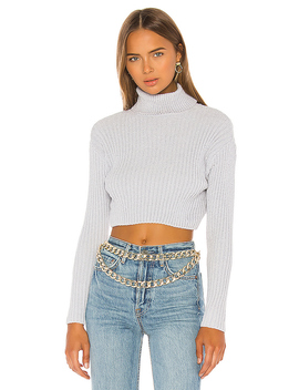 Tammy Ribbed Turtleneck Sweater In Grey by Superdown
