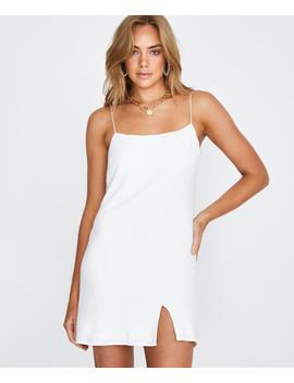 Bias Cut Linen Slip Dress White by Au