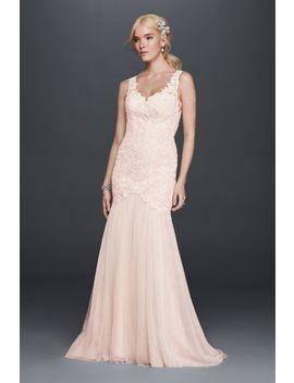 Beaded Venice Lace Trumpet Wedding Dress by Galina Signature