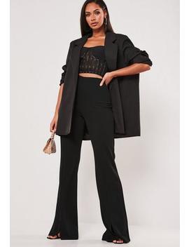 Tall Black Split Hem Wide Leg Trousers by Missguided