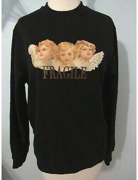 Minga London Cherub Fragile Design Sweatshirt Size Small Black Fiorucci Inspired by Minga London