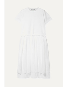 Ruffle Trimmed Layered Cotton Jersey And Georgette Dress by Comme Des Garçons Girl
