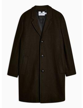 Khaki Single Breasted Overcoat by Topman