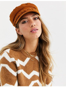 Asos Design Baker Boy Cord Hat With Braid Detail In Tan by Asos Design
