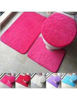 3 Pcs Bathroom Non Slip Pedestal Rug + Lid Toilet Cover + Bath Mat Washable Set by Ali Express.Com