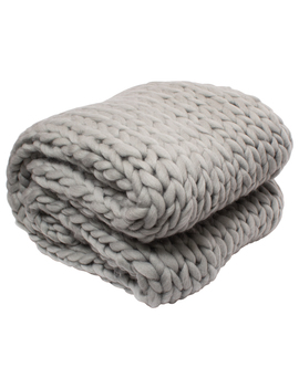 "Silver One Super Chunky Knitted Throw Blanket, Gray, 50"" X 60"" by Silver One International"