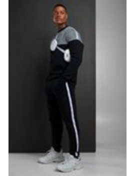Colour Block Jacquard Sweater Man Tape Tracksuit by Boohoo Man