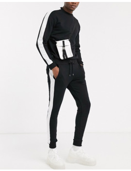 Asos Design Tracksuit Crew/ Skinny Jogger With Side Stripe In Black by Asos Design