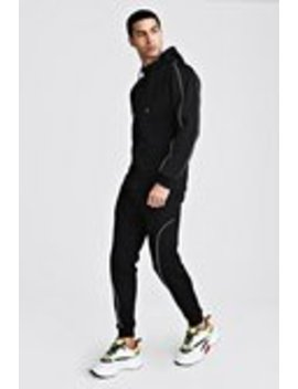 Man Signature Hooded Reflective Piping Tracksuit by Boohoo Man