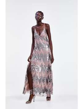 Sukienka Na RamiĄczkach Wyszywana Cekinami by Zara
