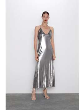 Sukienka Na RamiĄczkach Z Metalizowanym WykoŃczeniem by Zara