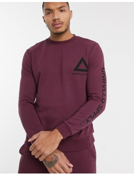 Asos Design Tracksuit Oversized Hoodie / Jogger In Burgundy With Placement Prints by Asos Design