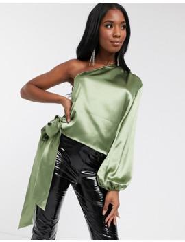 Blusa Asimétrica De Satén Color Verde Salvia De Koco & K by Koco & K