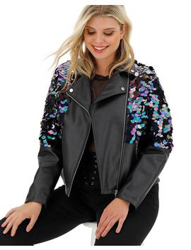 Sequin Pu Biker Jacket by Simply Be