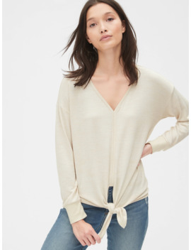 Softspun Tie Front V Neck Top by Gap