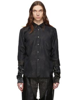 Black Jacquard Flower Crushed Velour Shirt by Comme Des GarÇons Homme Plus