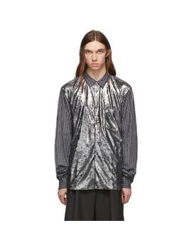 Black & White Foil Velour Shirt by Comme Des GarÇons Homme Plus
