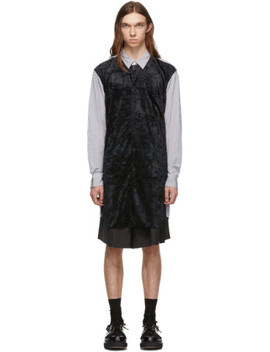 Black & White Crushed Velour Shirt by Comme Des GarÇons Homme Plus