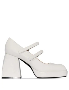 White Babies Bulla 85 Leather Mary Jane Pumps by Nodaleto