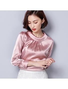 Women Blusas Long Sleeved Slim Plus Size Silk Satin Shirts Office Ladies Work Female Chiffon Blouse Elegant Blusa Feminina by Wish