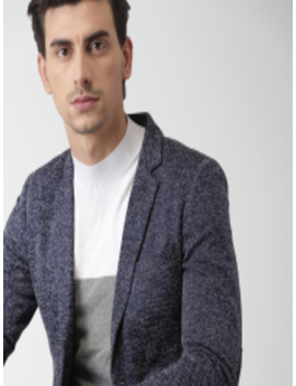 Navy Self Design Slim Fit Single Breasted Casual Blazer by Invictus