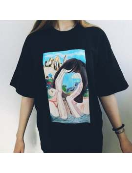 Black T Shirts Handmade T Shirt Picture On The T Shirt Print Girl Without Face Landscape Custom Clothes Oversize Unisex Art Illustration by Etsy