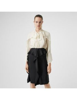 Ruffled Silk Chiffon Pussy Bow Blouse by Burberry