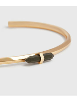 Ella Gold Tone Semi Precious Pyrite Cuff Bracelet by Allsaints