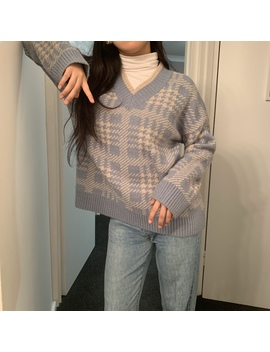 Soft Girl Cute V Neck Warm Bluish Sweater Jumper by Depop