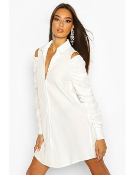 Cold Shoulder Ruched Sleeve Shirt Dress by Boohoo
