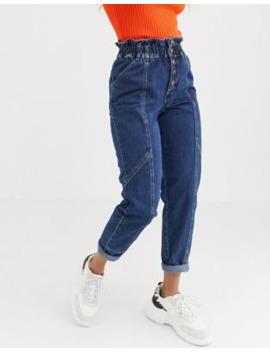 River Island – Mellanblå Paper Bag Jeans Med Knappdetalj by River Island