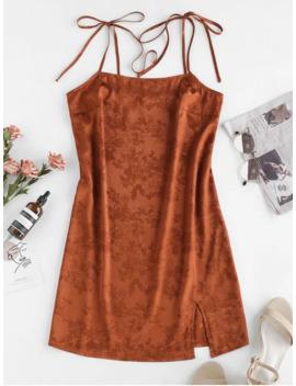 Hot Zaful Jacquard Tie Shoulder Cami Slit Dress   Brown S by Zaful