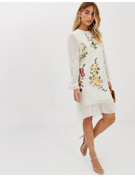 Hope &Amp; Ivy Embroidered Midi Shift Dress In Cream by Hope And Ivy's