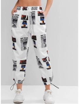 Hot Mid Rise Printed Windbreaker Jogger Pants   Multi A M by Zaful