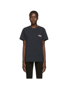 Black Double Fox Head T Shirt by Maison KitsunÉ