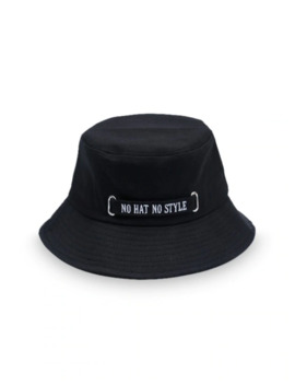Hot Casual Letter Embroidery Bucket Hat   Black by Zaful