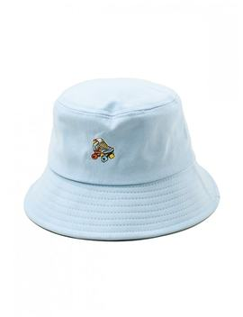Hot Embroidered Roller Skates Pattern Bucket Hat   Light Blue by Zaful