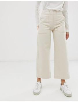 Asos Design – Gräddvita Korta Carpenter Jeans Med Vida Ben Och Kontrasterande Söm by Asos Design