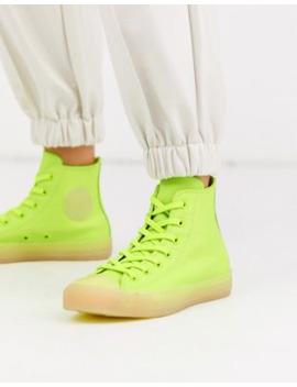 Converse – Chuck Taylor Hi – Knöchelhohe Ledersneaker In Neongelb by Asos