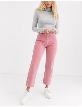 Asos Design – Florence – Korallfärgade Blekta Jeans Med Raka Ben by Asos Design