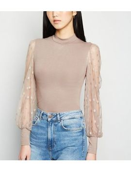 Mink High Neck Spot Mesh Sleeve Top by New Look